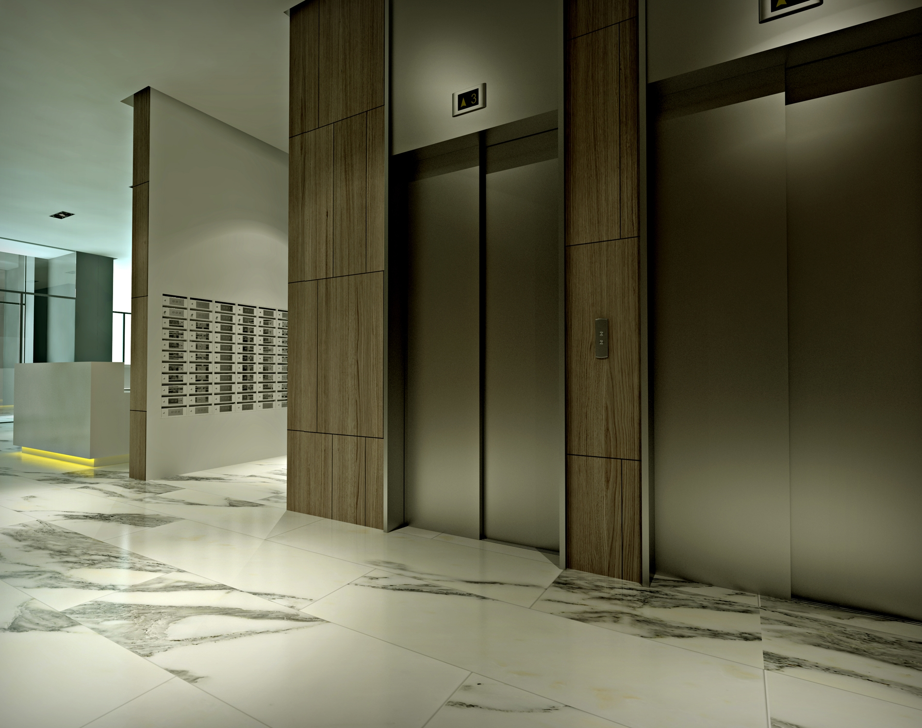 Design the lobby of an apartment building for Apartment lobby design